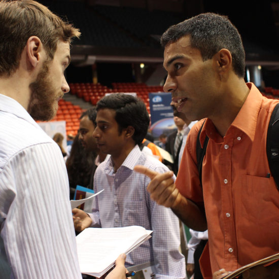 Students talking at Career Fair