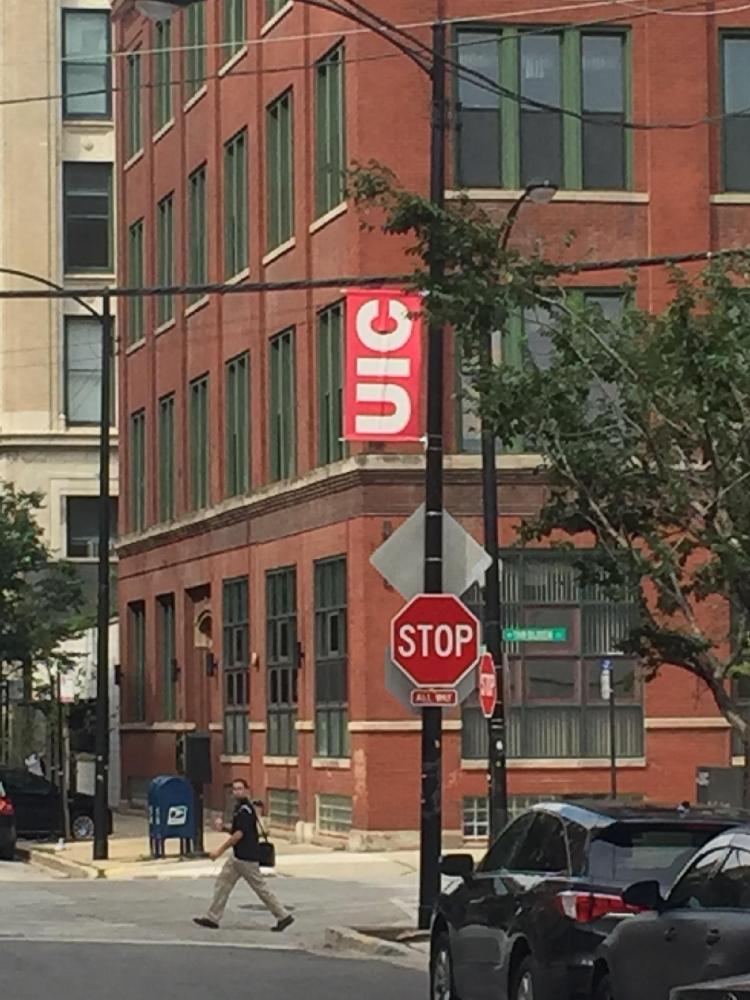 UIC Flag Banner on Street Corner.