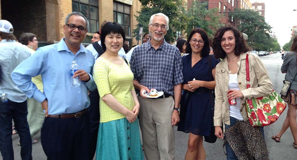 Faculty with new students at the Block Party
