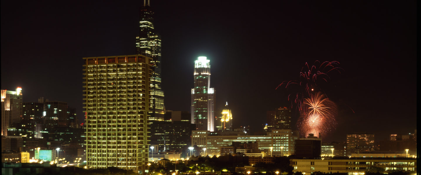 fire works over downtown Chicago