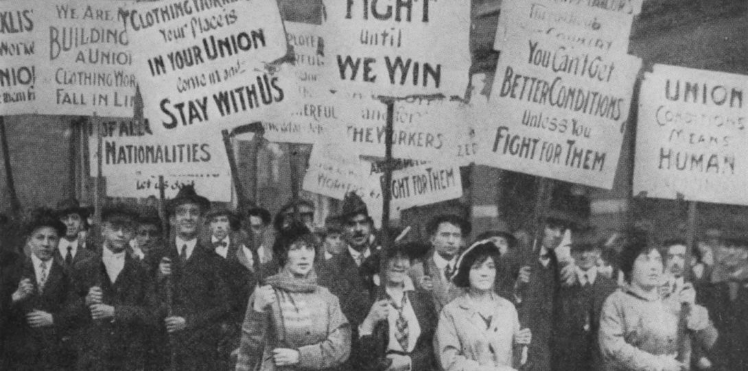 Women marchers in Chicago vintage photo