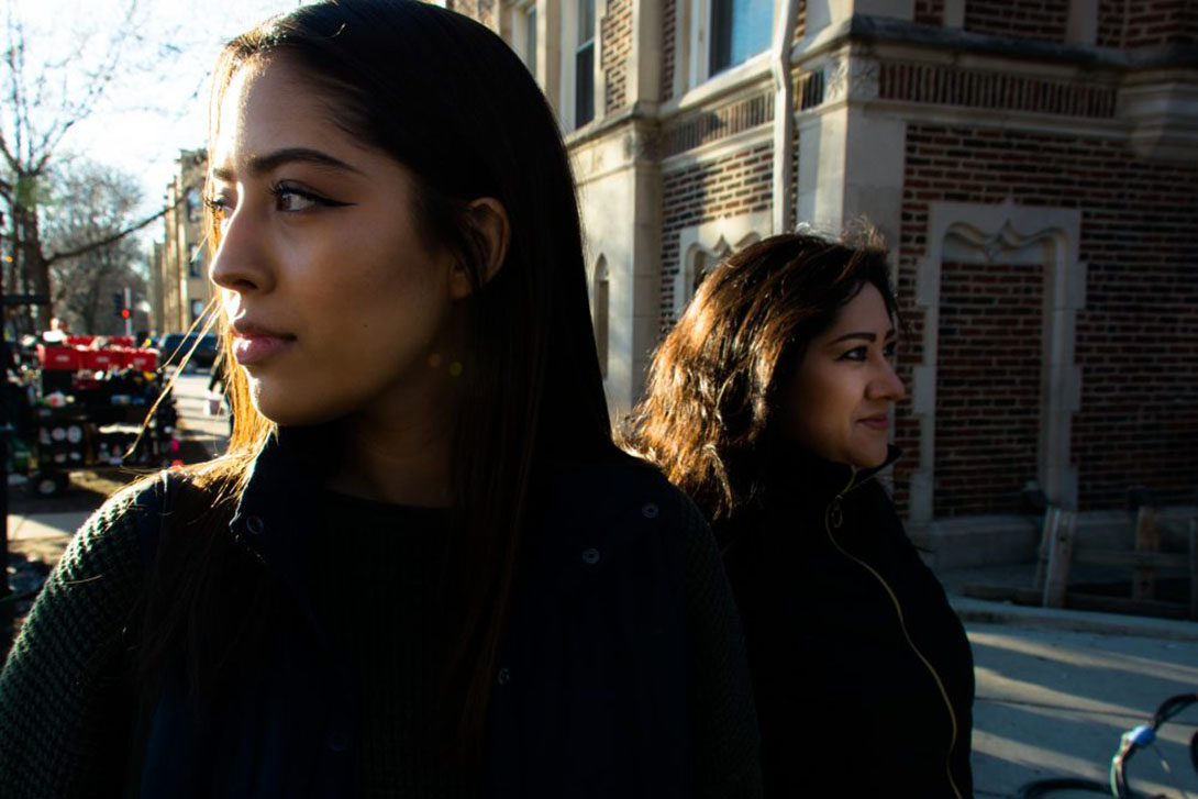 Lesley Gonzalez and her mother returning to their former block in the Logan Square