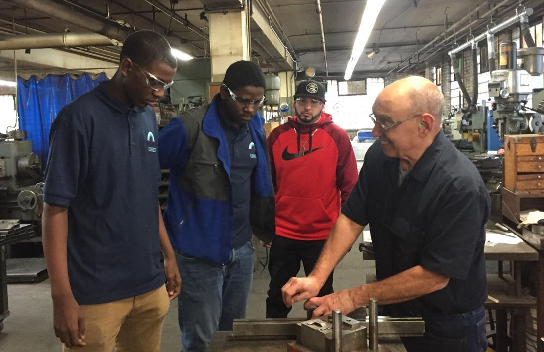 High school juniors during a factory job shadowing visit in Chicago sponsored by Manufacturing Renaissance