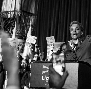 Lori Lightfoot Campaigning on Podium