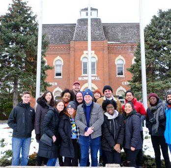 Class members of UPP 506, the Plan Making Studio, pose in Dalton, IL