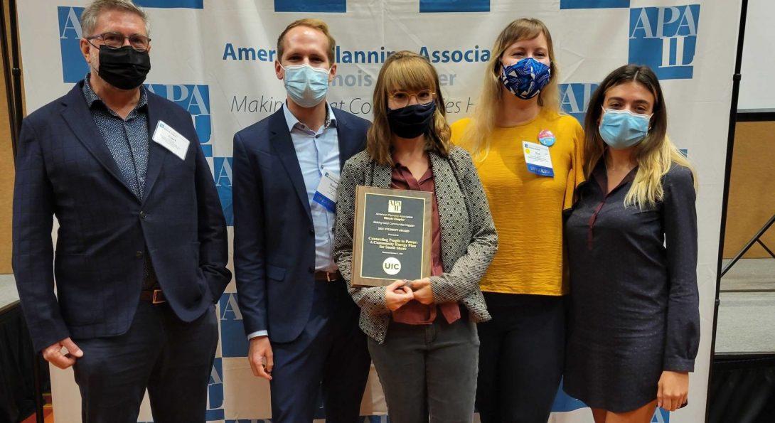 Professor Curt Winkle and his students from UPP 505/506 accepted the APA-IL Student Project Award.